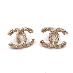 🇺🇸Chanel CC Twisted Crystal Studs Earrings🇺🇸